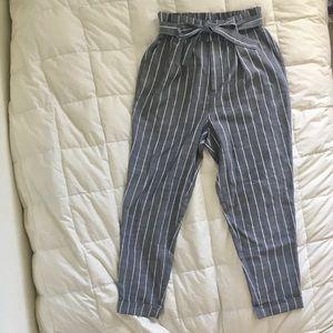 Striped paper bag pants
